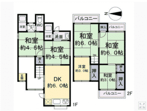 Notice all the Japanese-style rooms (和室).  These are rooms with tatami flooring.